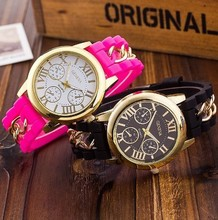 Geneva new silicone Roman typeface false eye chain watch for men and women