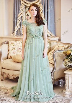 Luxury Light Green muslim Evening Dress With Crystal Beading L386