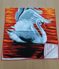 lively swan print fabric , active microfiber towel