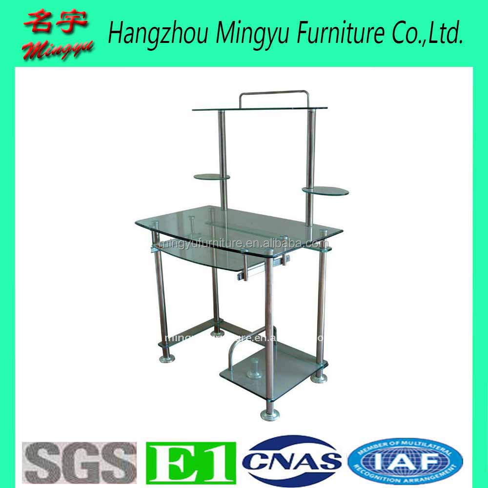 Hot sale glass top computer table study desk