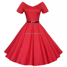 Fashion Women Vintage Casual Swing Prom Dress Short Sleeve A line Pleated Dresses with Waist Belt Wholesale Custom China