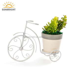 Hot Sale White Metal Iron Hanging Bicycle Flower Plant Pot Stand