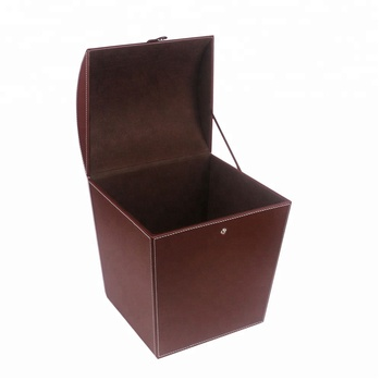 Wholesale latest hot selling durable  leather waste bin with lid