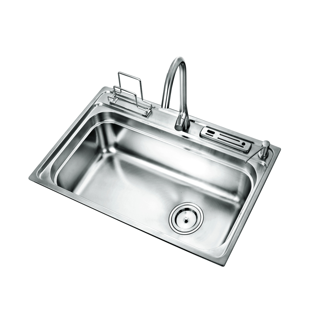 Single Bowl Brushed Kitchen Sink Stainless Steel 304