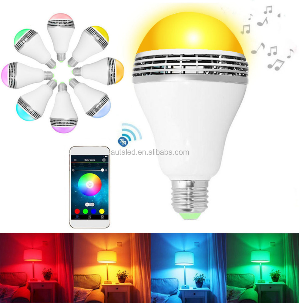 LED RGB Color Led Lamp Light E27 Bluetooth Control Smart Music Audio Speaker Light Bulb