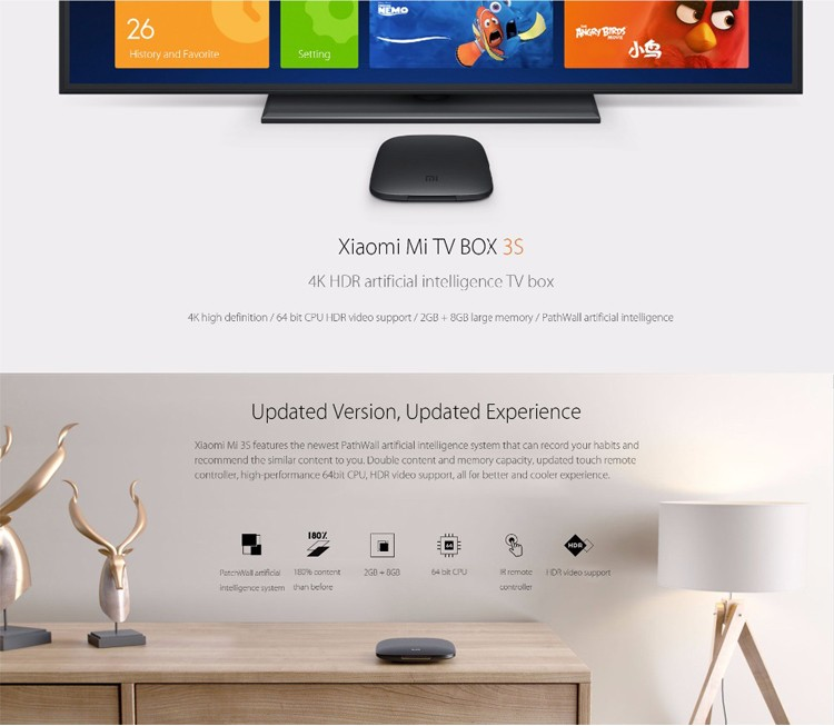 Original Xiaomi Mi TV Box 3c 3s 4K 64bit Android 6.0 Media Player Wifi BT TV Box
