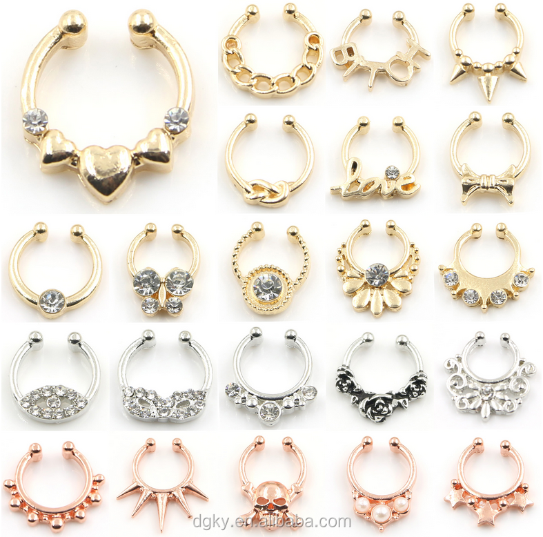 Wholesale Fashion non piercing Fake septum ring body jewelry