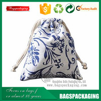 blue and white porcelain stylish drawstring custom cotton bags