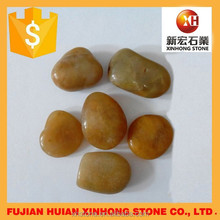 High polished Yellow natural river stone rock