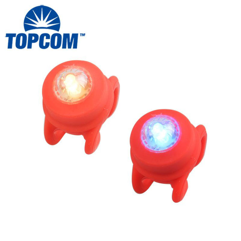 Colorful Mini LED Bike Light Powered by 2*2032 Button Cell Tail Bicycle Light