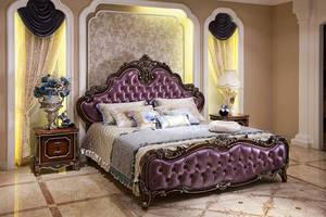 2017 new french style bedroom furniture wood carving king size bed