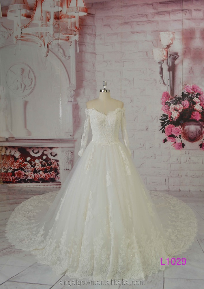 2016 guangzhou new arabic off shoulder long sleeves beaded french lace A-line wedding dresses long train
