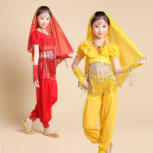 Pretty India Children Dance Clothing Belly Dance Costume Tops / Pants 3 Color 2 Pls Lass Performance Wear ZH2065