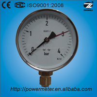 "(Y-100) 4"" 100mm brass bottom connection low pressure red pointer standard tank level gauge"