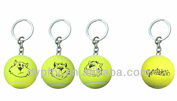 Promotional tennis ball keychain