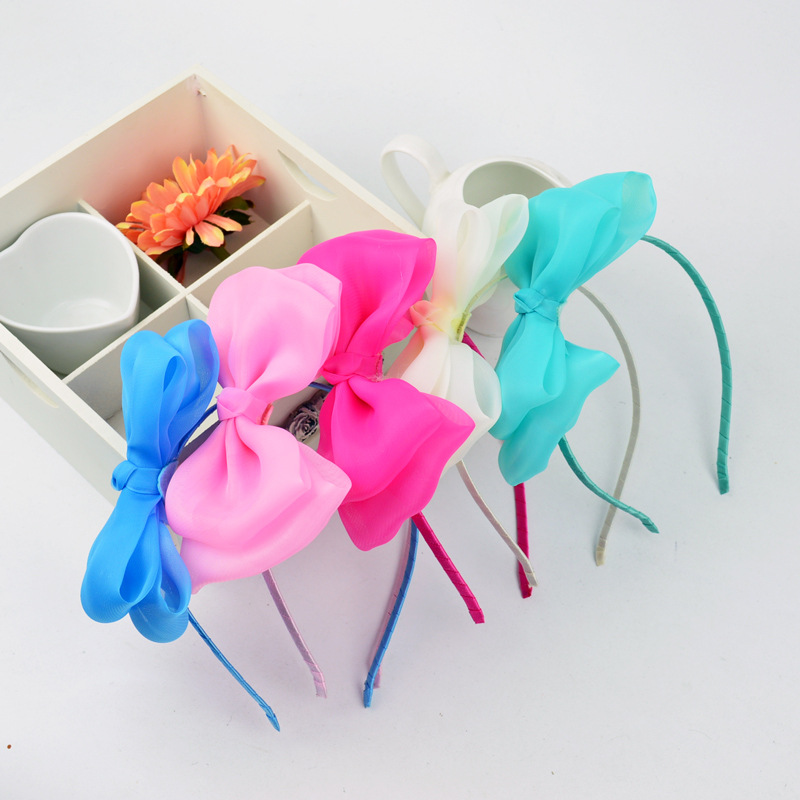 custom satin chiffon flower ribbon bowknot plastic headband