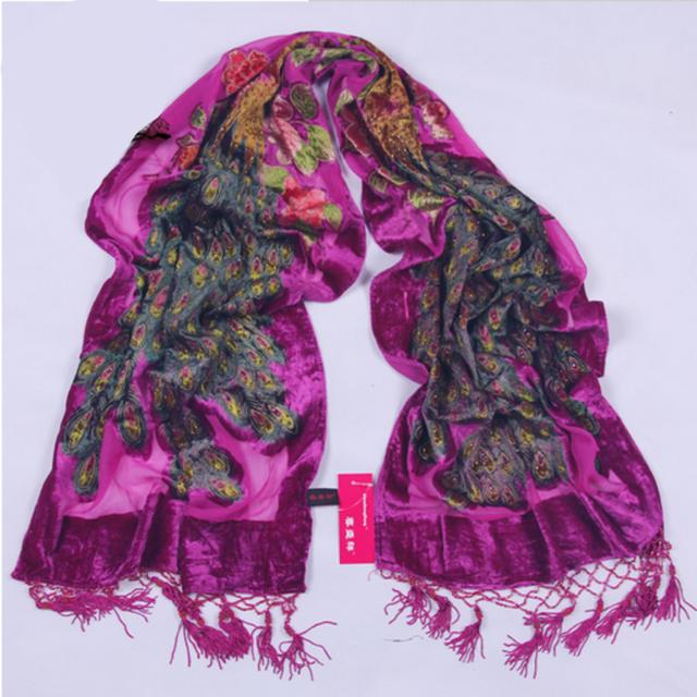 peacock velvet silk scarf