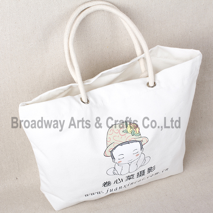 Custom printing Cotton canvas tote beach bag with rope handle