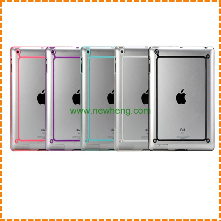 Hot selling ultra thin clear tpu pc bumper case for ipad 234