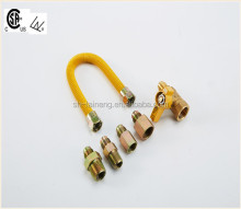 yellow-coated gas connector hose 12 inches ball angle valve optional
