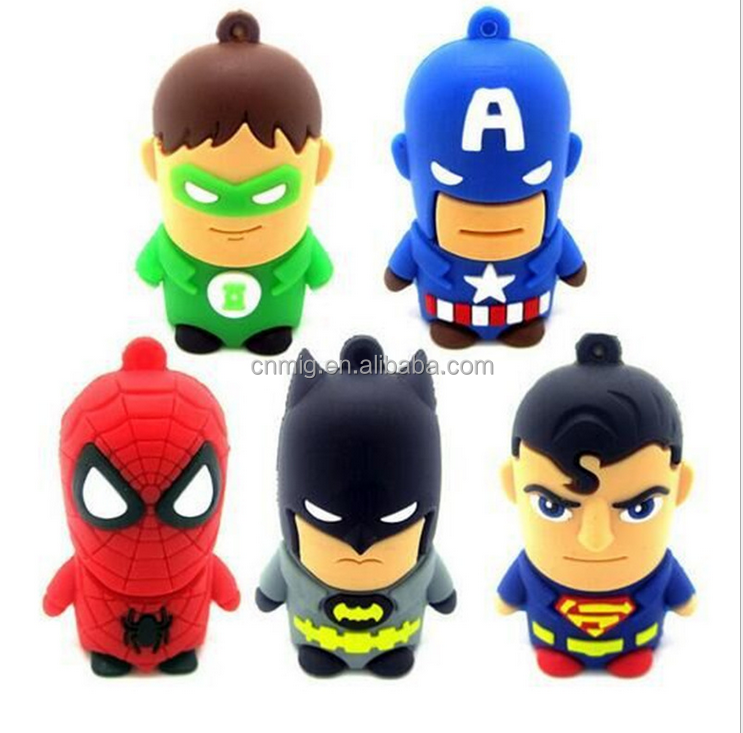 Cute design high quality The Avengers cartoon leather usb flash drive