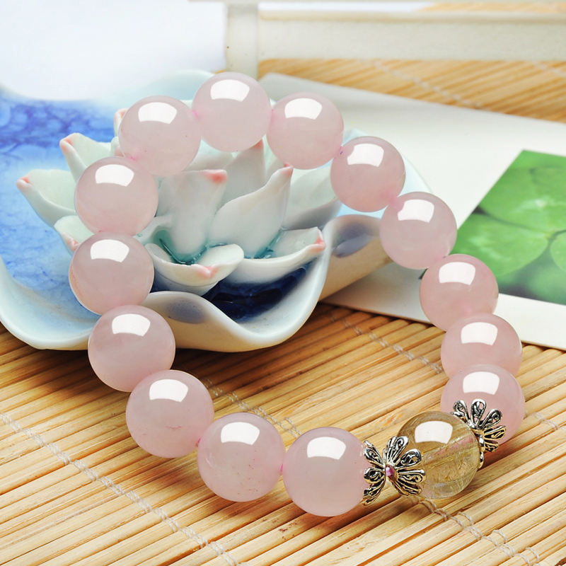 Natural Pink Quartz Crystal Rutilated Quartz Bead Charm Bracelet