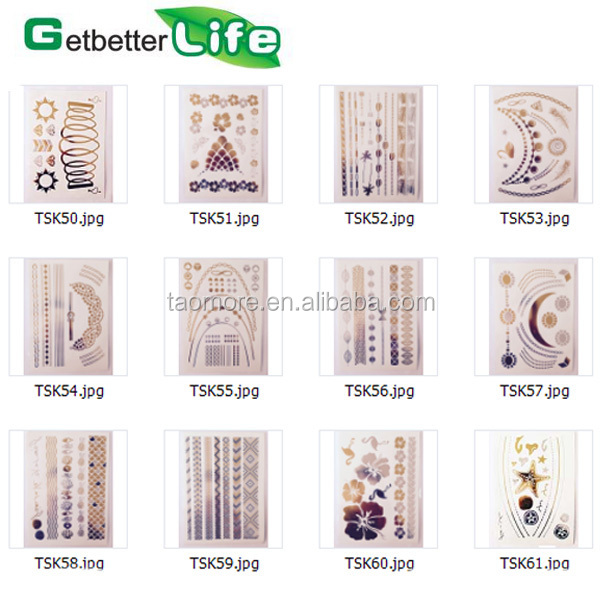 2015 getbetterlife wholesale temporary tattoo gold leaf tattoo sticker/gold foil tattoo/metallic flash tattoo
