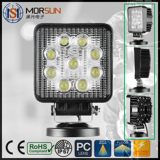 27 Watt Working Led Lights 12v Offroad Auto 27w tractor led work light For Car CE ROHS listed waterproof