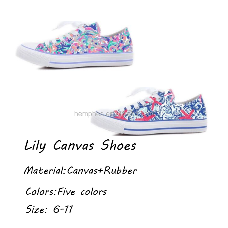 Free Shipping China Monogram Lily Canvas Shoes