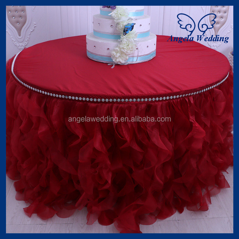 CL010E Cheap Hot sale elegant organza round ruffled curly willow frilly champagne fancy wedding red table cloths