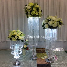 IDA crystal acrylic bead strand lighted pillar flower stand for wedding decoration (IDAP122)