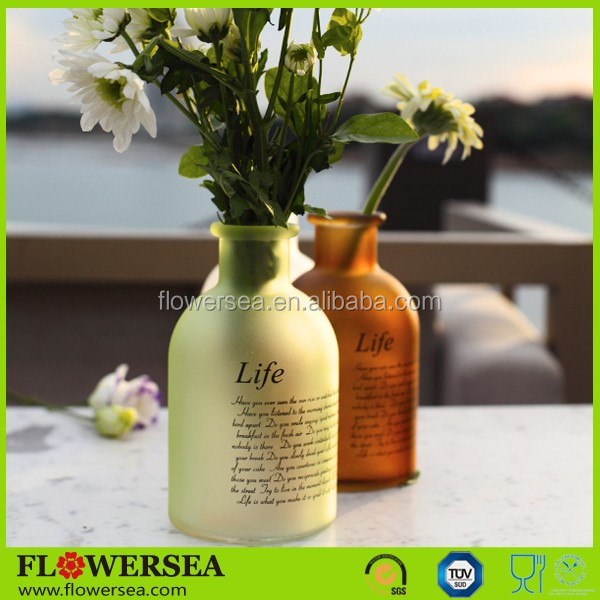 Flowersea best selling cheap small home decor present glass flower vases with poem