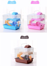 New Design Foldable Castle Hamster Cage with Pot and Wheel Pink