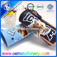 20.5*8cm blue / black nylon zipper case / children school pencil bag