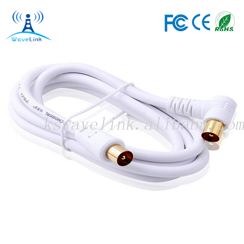 White TV Plug Connector RF TV Cable 1.8M 90 DEGREE TV CABLE