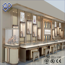 High end design wooden glass standing showcases jewellery stand window showcase for jewelry display