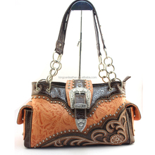 West Concealed Gun Carry Leather Purse Women Western Buckle Handbags
