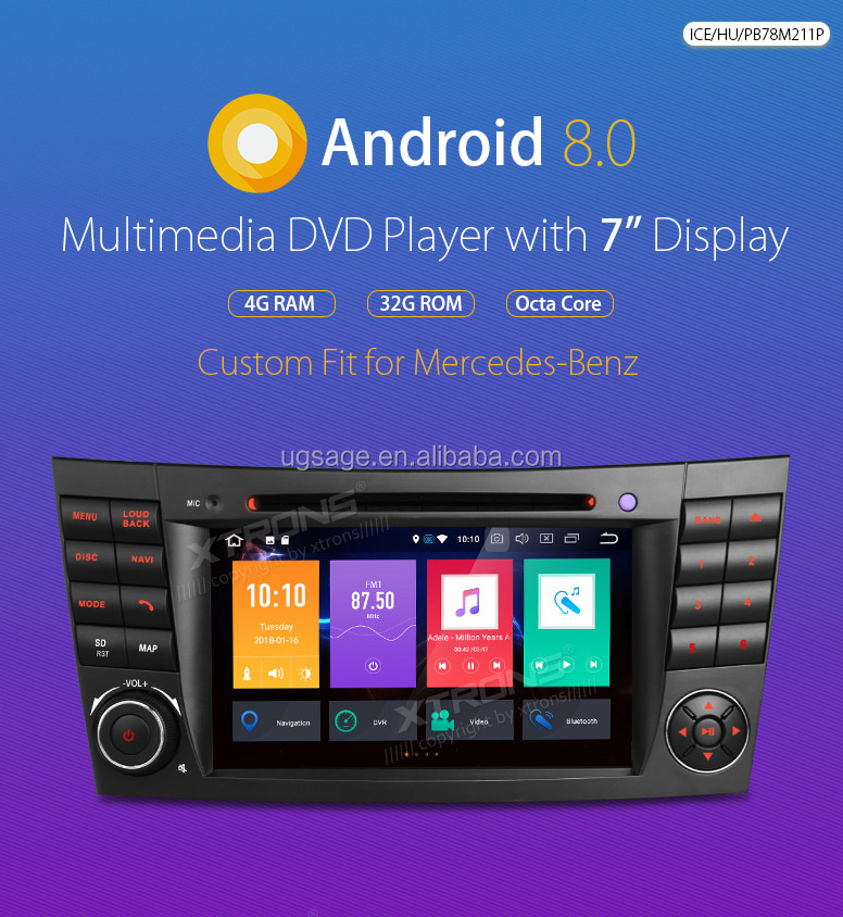 "XTRONS PB78M211P 7""HD Touch Screen octa core 8.0 region free dvd player android car navigation for mercedes w211 /cls with BT"