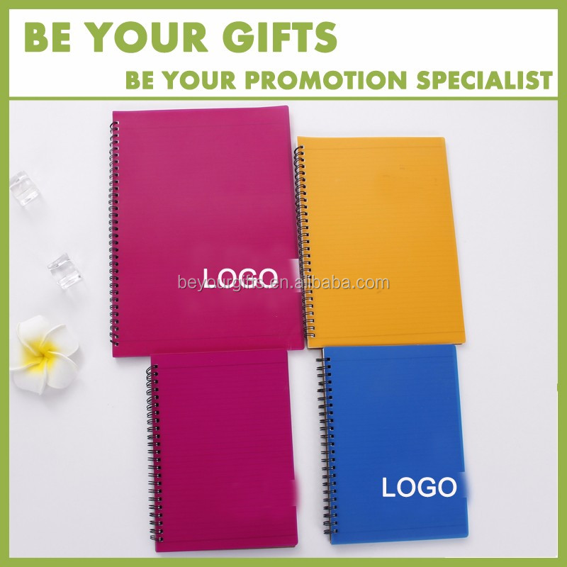 Promotional Custom logo plastic cover A5 /A6 sprial loose leaf notebook with pen