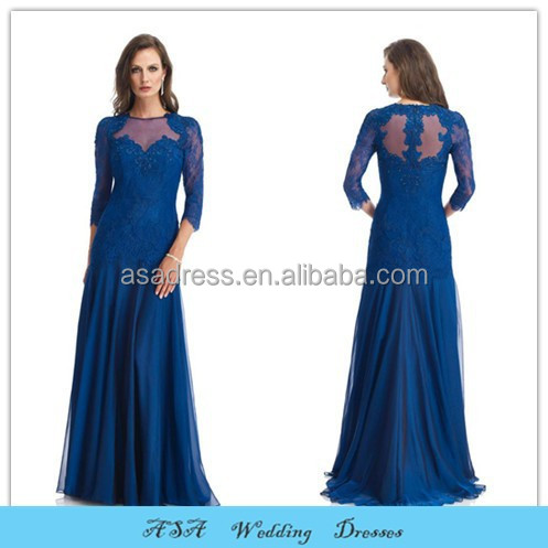 Fashion Elegant Plus Size Evening Dress Wedding Sheer Back Sexy Grey Royal Blue Mother of the Bride Lace Evening Dresses 2015