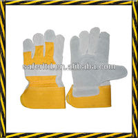 India Industrial leather working glove with rubber cuff leather safety glove