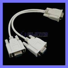 NEW VGA Y SPLITTER CABLE ADAPTER MONITOR DUAL DISPLAY