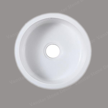 Undermount White Single Bowl Round Quartz Stone Kitchen Sink