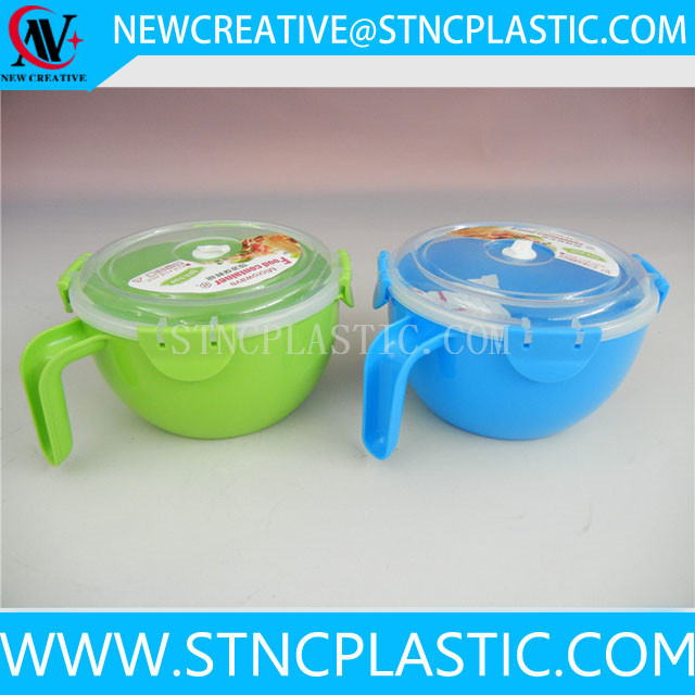 Microwave Safe Round Plastic Bowl With Handle And Lid