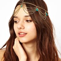 wholesale 2014 newest indian style metal chains head piece jewelry