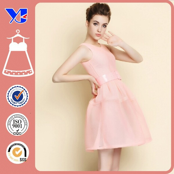 Round collar pink eve dress