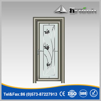 Frosted Glass Flower Pattern Glass Door with Frame