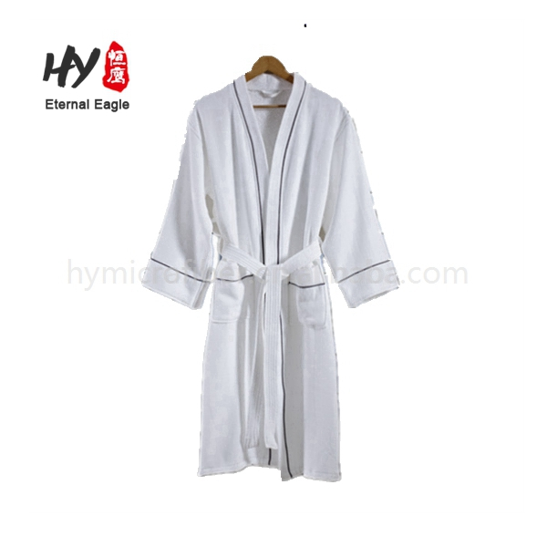 Custom logo embroidered fancy cotton hotel bath robe