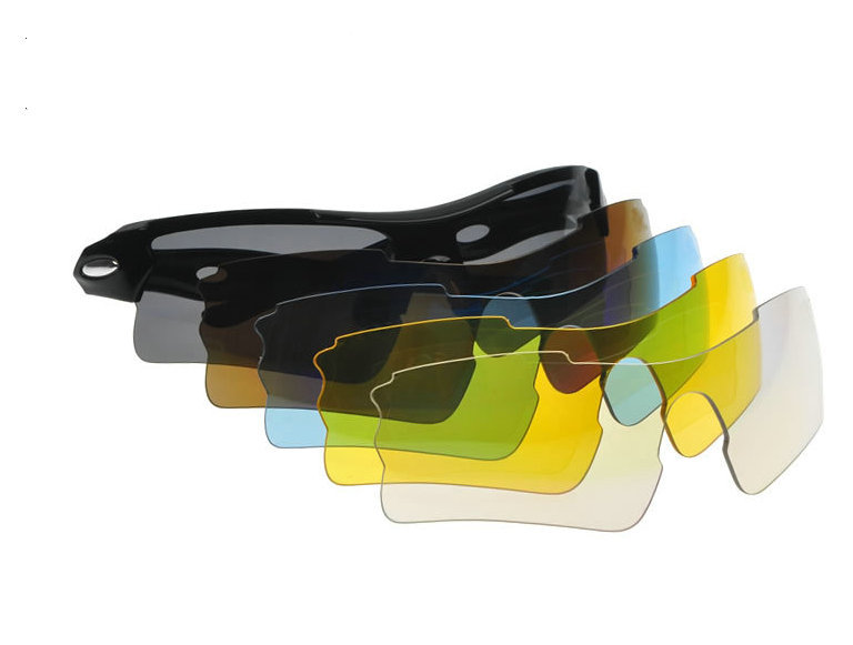 Colorful 5 lens sport sunglasses with optical insert frame