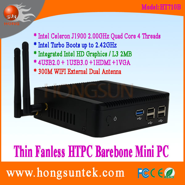 HT710B Intel J1900 Industrial PC 2.00-2.42GHz Quad Core 4 Threads Thin Client Fanless Barebone Mini PC